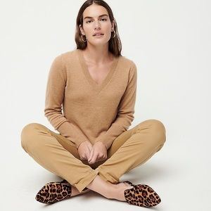J. Crew Collection Camel Cashmere V-Neck Sweater